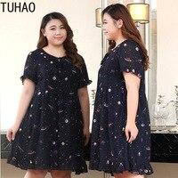 TUHAO Vintage Print Ruffles Women Dress Plus Size 10XL 9XL 8XL Elegant Navy Office Lady Dresses Summer Dress Large Size Clothing