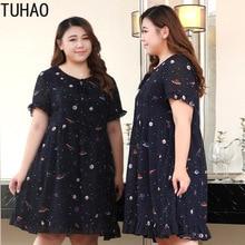 Tuhao Vintage Print Ruches Vrouwen Jurk Plus Size 10XL 9XL 8XL Elegant Navy Office Lady Jurken Zomer Jurk Grote Maat kleding