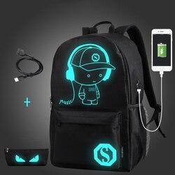 Студенческий школьный рюкзак со светящимся рисунком на тему аниме, USB зарядка, рюкзак для ноутбука, для подростка, противоугонная школьная с...