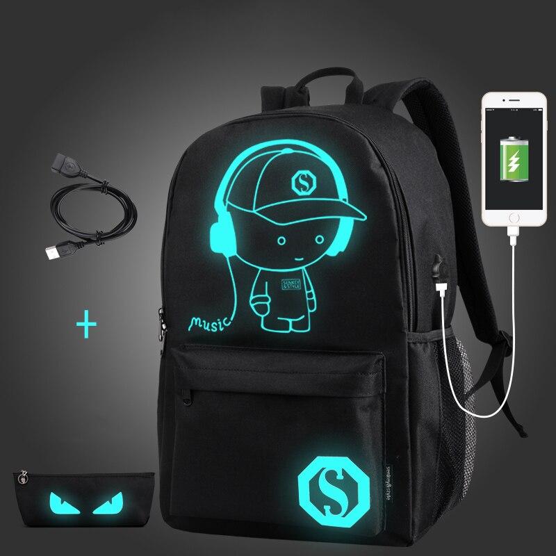 Senkey Стиль школьные рюкзак аниме Световой USB зарядка ноутбук рюкзак для подростка Anti-theft мальчиков школьная сумка