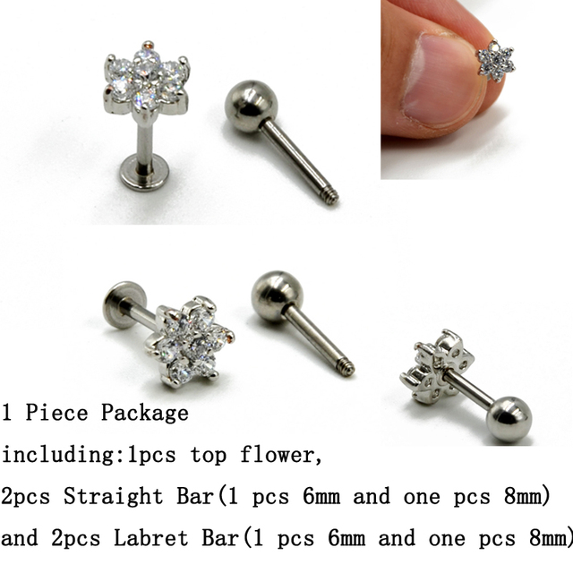 1 Pcs En Laiton Fleur Avec Ronde Zircon Oreille Tragus Cartilage De