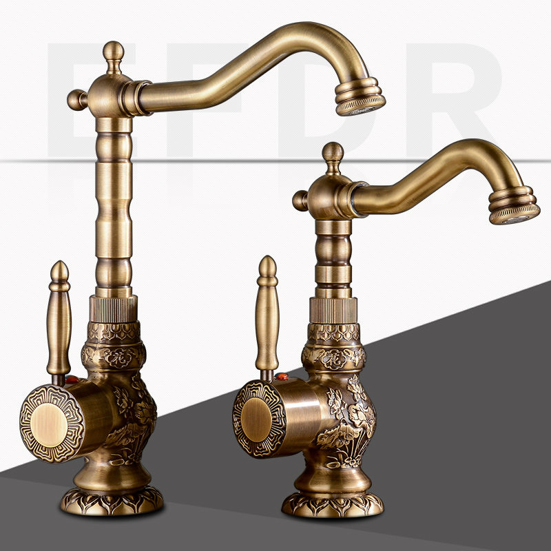 European Antique Retro Carved Basin Rotating Single Handle Hole Hot And Cold Water Tap Brass Kitchen Faucet / Water Tap