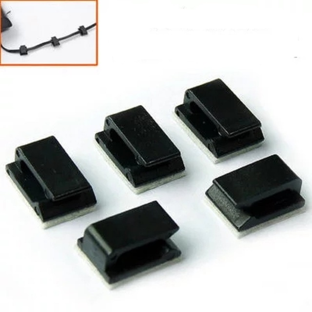 30Pcs/Lot Self adhesive Rectangle Wire Tie Cable Mount Clamp Clip ...