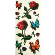 3D Lifelike Pretty Temporary Tattoo 19X9CM Beautiful Rose And Color Butterfly