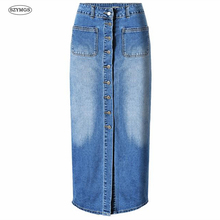 SZYMGSAnkle-Length Denim Skirts Vintage Button High Waist Pencil Blue Slim Women Skirts Bleached jean Skirt Straight jeans Skirt
