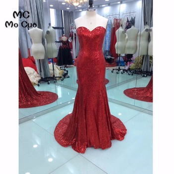 Simple 2018 Red Prom Dresses for teens Sweetheart Off Shoulder Count Train Vestidos de fiesta Mermaid Formal Evening Dress