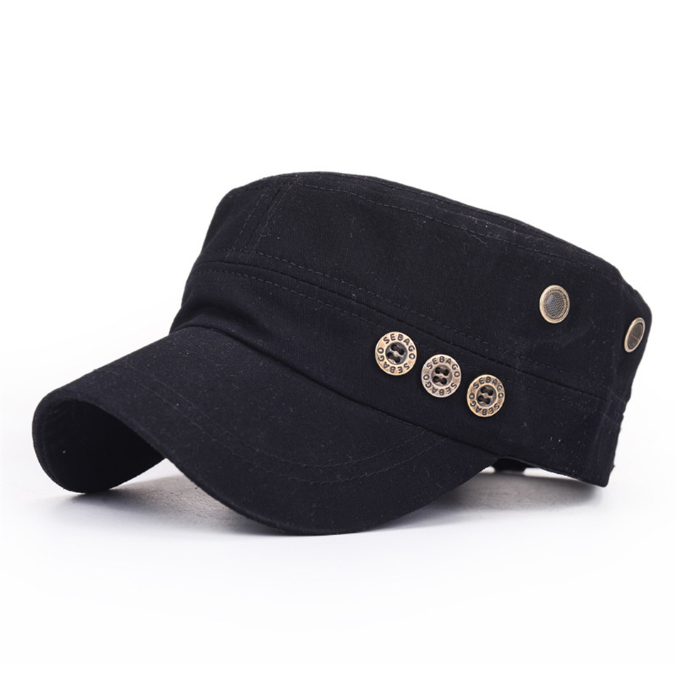 1e5c0ab805a BUTTERMERE Black Men Military Hat With Buttons Spring Summer Vintage  Captains Hat Male Casual Cotton Baseball Caps Flat Top