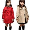 Chaqueta de las muchachas de Los Niños Ropa de Invierno Para Niños Otoño Bebé Abrigo Caliente Medio-Largo Cruzado prendas de Vestir Exteriores de La Muchacha Gabardina