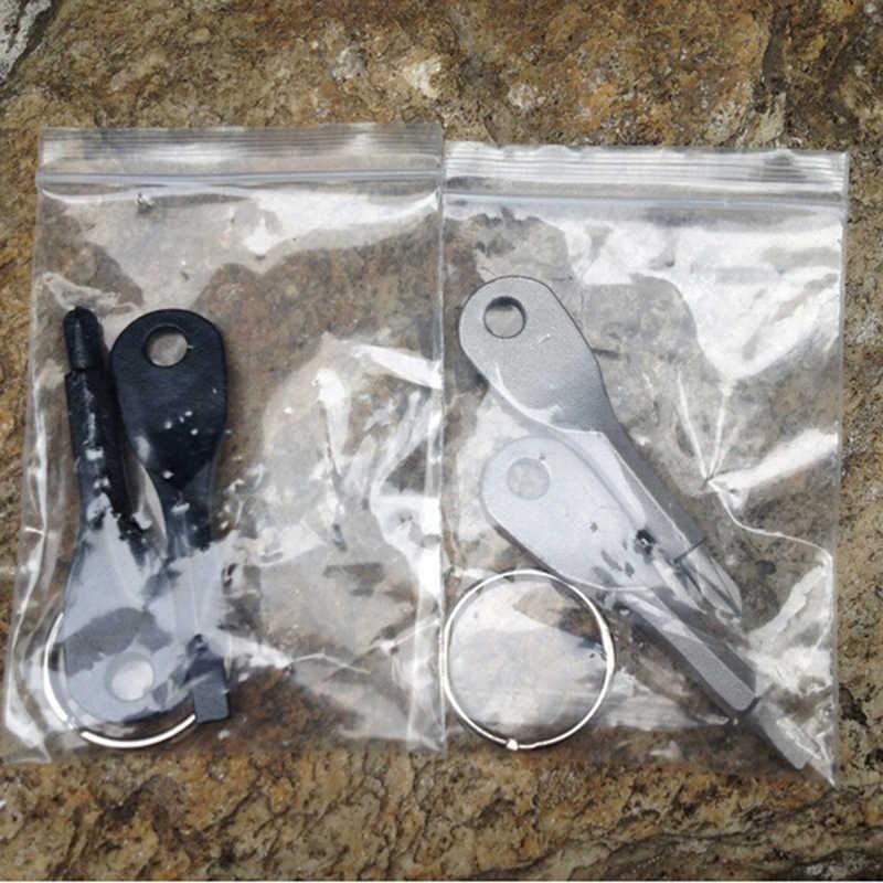 2 pièces Multi-outils Porte-clés Argent Noir En Acier Inoxydable Multi-outils Porte-clés EDC Tournevis de Poche En Plein Air Outil Ensemble