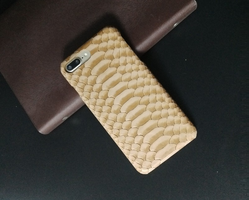 plus7 brown real leather case for iPhone 7 plus python skin pattern