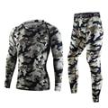 Топы + брюки 2 Компл. качество Камуфляж тепловой термо Лонг Джонс мужчины underwear sets сжатия пота быстрое высыхание мужская одежда