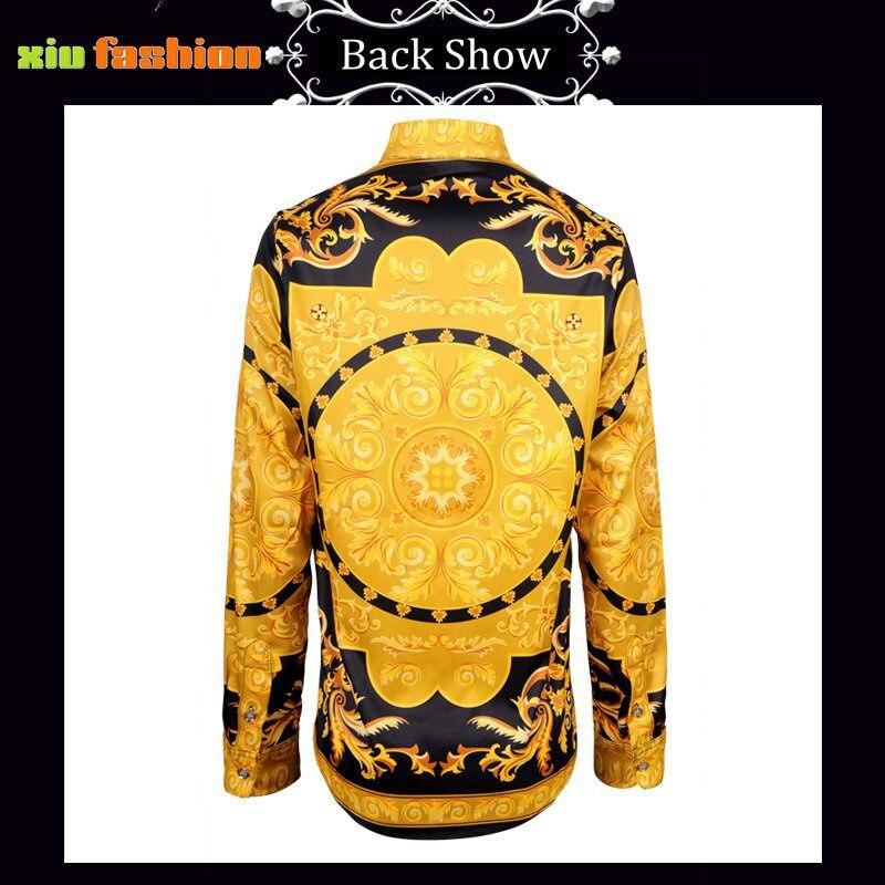921d2fdbfd14a8 Korea Mode Mannelijk Overhemd Gothic Barokke Shirt Mannen Gouden Bloem Print  Jurk Shirts Zomer Stijl Luxe Casual Slim Fit Mannen kleding in Korea Mode  ...