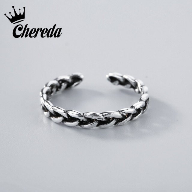 Chereda Silver Chinese Doughnut Pattern Ring For Women Vintage Fascination Luxur