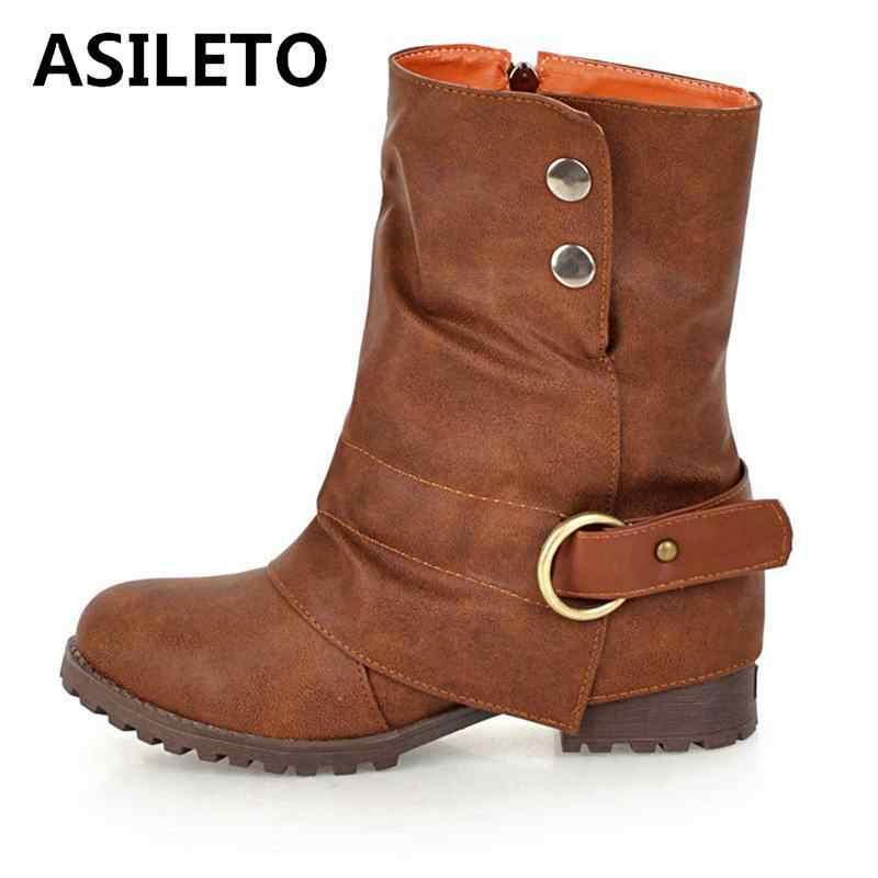 69c1596712 ASILETO ankle boots women Rivet Buckle Western Boots Cowboy ...