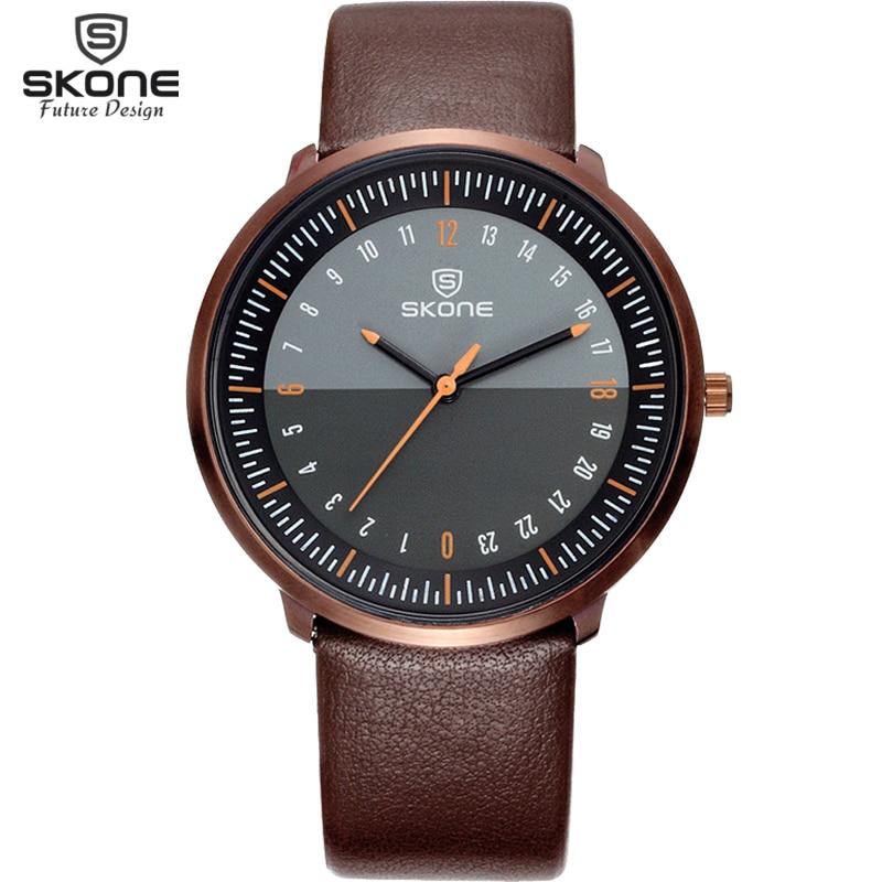 Skone Top Marque De Luxe Hommes Montres Étanche Ultra Mince Cadran horloge Mâle En Cuir Sport Bracelet Montre À Quartz Hommes Poignet Sport montre