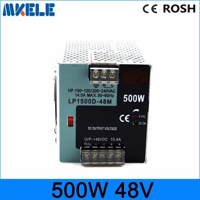 Alta vatios 500 w 48 V carril din tamaño pequeño carril din fuente de alimentación de conmutación LP-500W-48 10.4A muestra voltaje 48vdc con 10% de ajuste