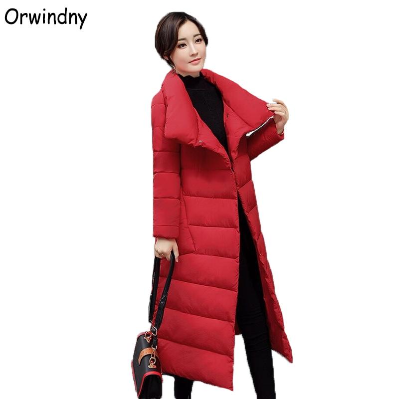 Orwindny Stand Collar Plus Size Female   Parkas   Long Loose Women's Down Cotton Jacket Outerwear Warm Wadded Jacket Coat Lady S-2XL