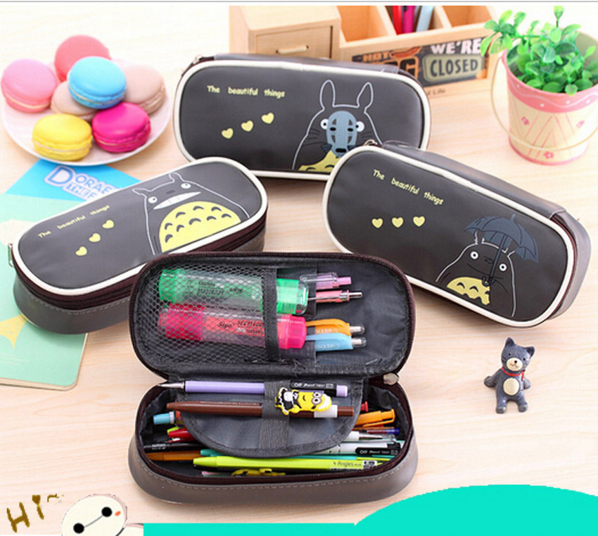 Stationery box lovely creative Totoro large capacity stationery box Pu pen pencil pencil box cortex korea stationery lovely pencil box multifunctional wooden diy drawer stationery box pencil case school