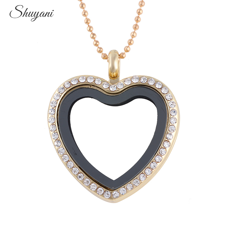 10pcs/lot Rhinestone Alloy Heart Floating Locket Necklaces & Pendants - Fashion Jewelry - Photo 3