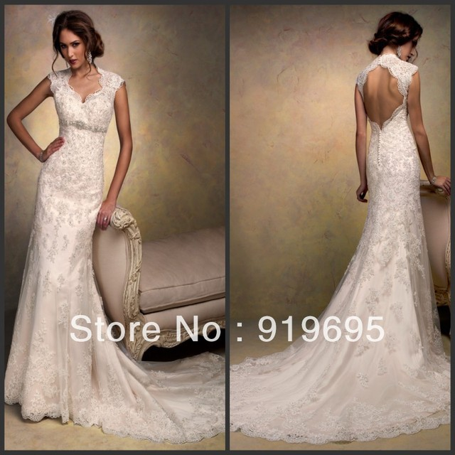 1d0c7bf6adf Free Shipping France Cap Sleeve Appliqued Beading Open Back Sheath Full  Lace Wedding Dress