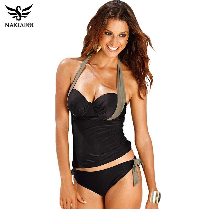 NAKIAEOI Swimwear Women Swimsuit 2018 Sexy Push Up Tankini Set Vintage High Waisted Bathing Suit Summer Beach Wear Plus Size 3XL
