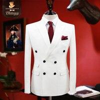 Ropa de la marca slim fit hombres trajes esmoquin blanco capa/pant 2 unid doble botonadura novio trajes de boda para hombres chico formal, prom trajes