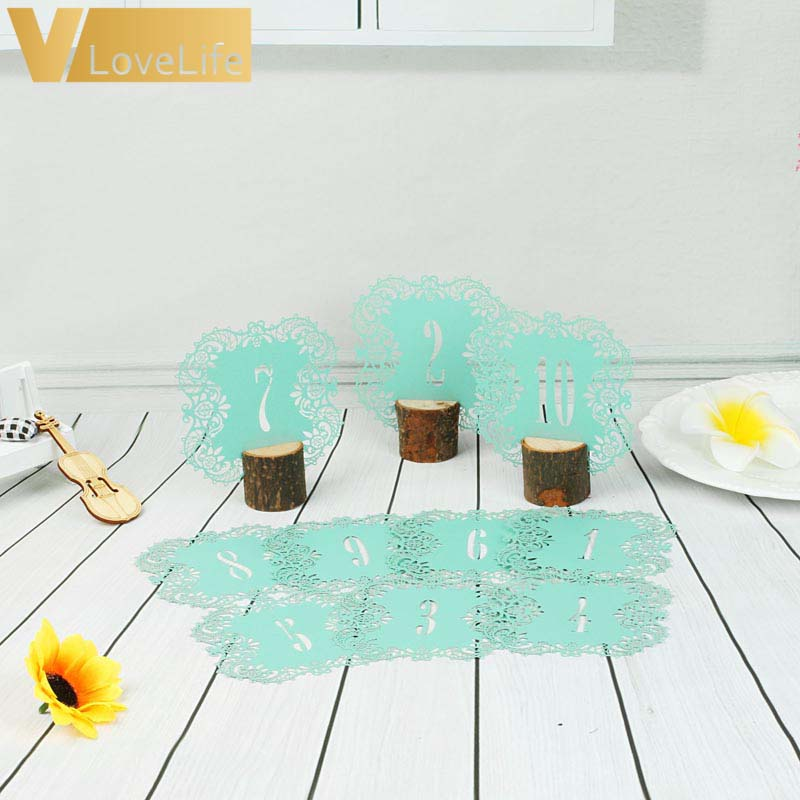 10pcsset 10 Numbers Turquoise Hollow Lace Table Number Table Cards