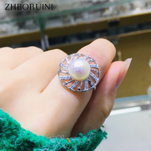 ZHBORUINI 2019 Fine Pearl Ring Jewelry Round Windmill Natural Freshwater Pearl Rings 925 Sterling Silver For Women Wedding Gift nymph seawater pearl bracelets fine jewelry near round natural pearl bangles for women gold trendy anniversary gift [s308]