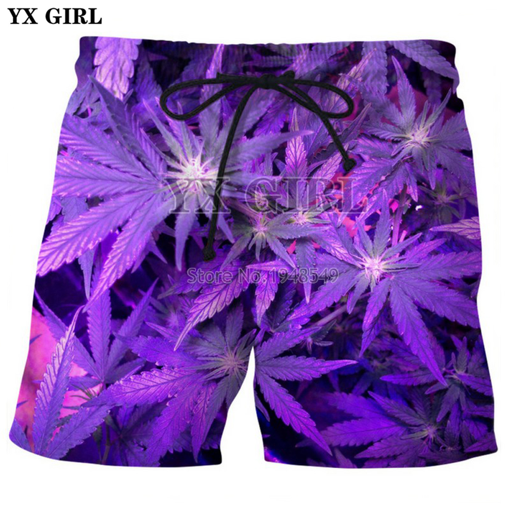 Men's Clothing Yx Girl Drop Shipping 2018 Summer New Style Mens Shorts Purple Weed Green Weed 3d Printed Men/women Casual Shorts