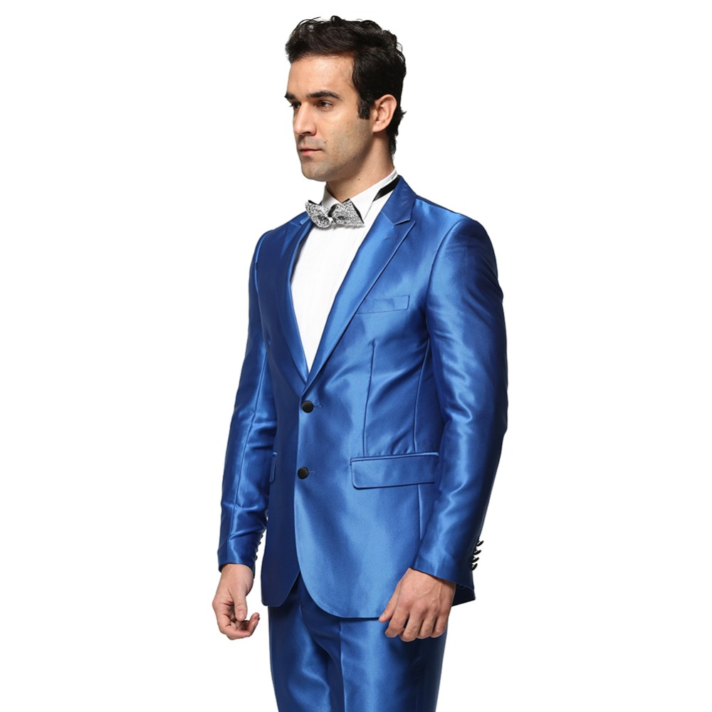 Aliexpress.com : Buy (Jacket Pant)Men Solid Color Shiny Blue ...