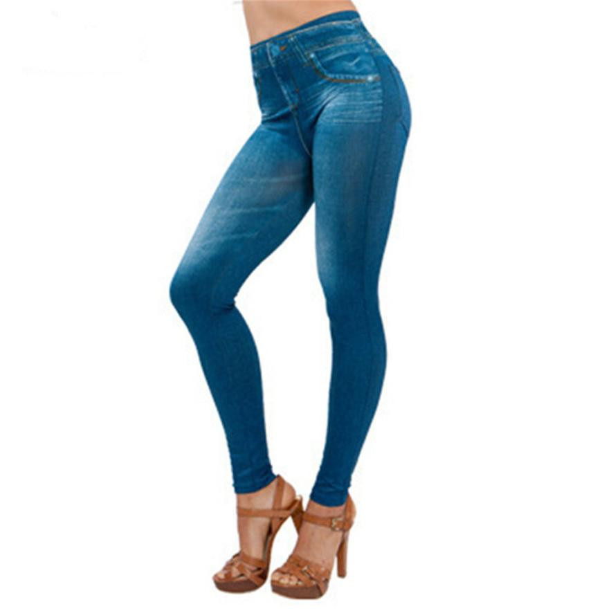 2018 New Women Denim Pants Pocket Slim Leggings Fitness Plus Size Leggins Length   Jeans   Feminino Skinny Pants For Women Trousers