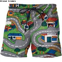 PLstar Cosmos Drop shipping 2018 summer new Fashion Men shorts Cartoon Toy Roads Print 3d Mens Womens Casual Shorts