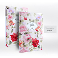 For Apple IPad Air 2 Luxury Fashion 3D Embossing Painted Magnetic PU Leather Case Smart Cover
