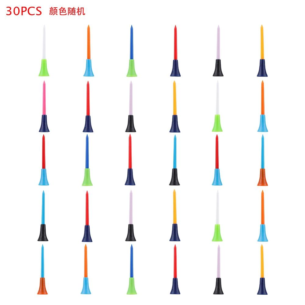 30pcs High Quality Random Multi Color Plastic Golf Tees 83mm Durable Rubber Ball Nails Cushion Top Golf Tee