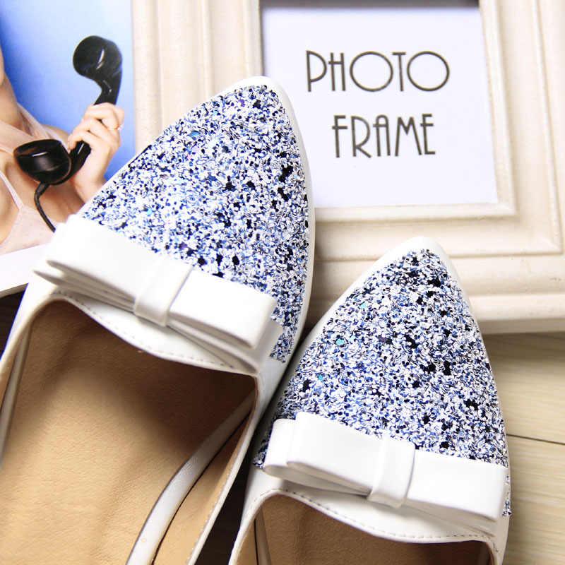 Taomengsi 2017 Yeni Yay Uçlu Serin Kore Versiyonu PU Ile Rahat Düz Serin Terlik Ofis Serin kadın ayakkabısı