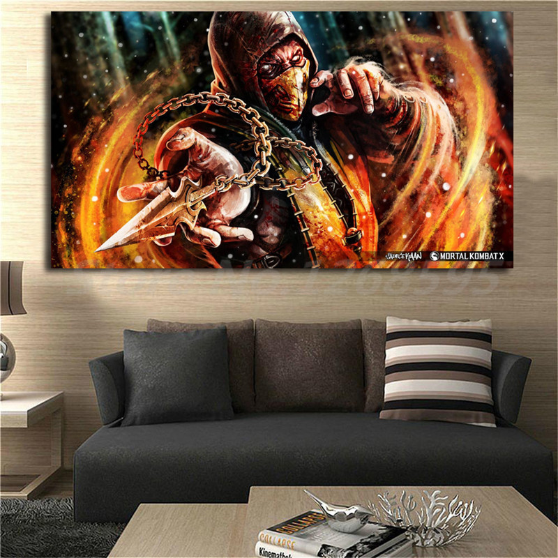 Mortal Kombat Scorpion Character Wallpaper HD Canvas Posters Prints Wall Art Painting Decorative Picture Modern Home