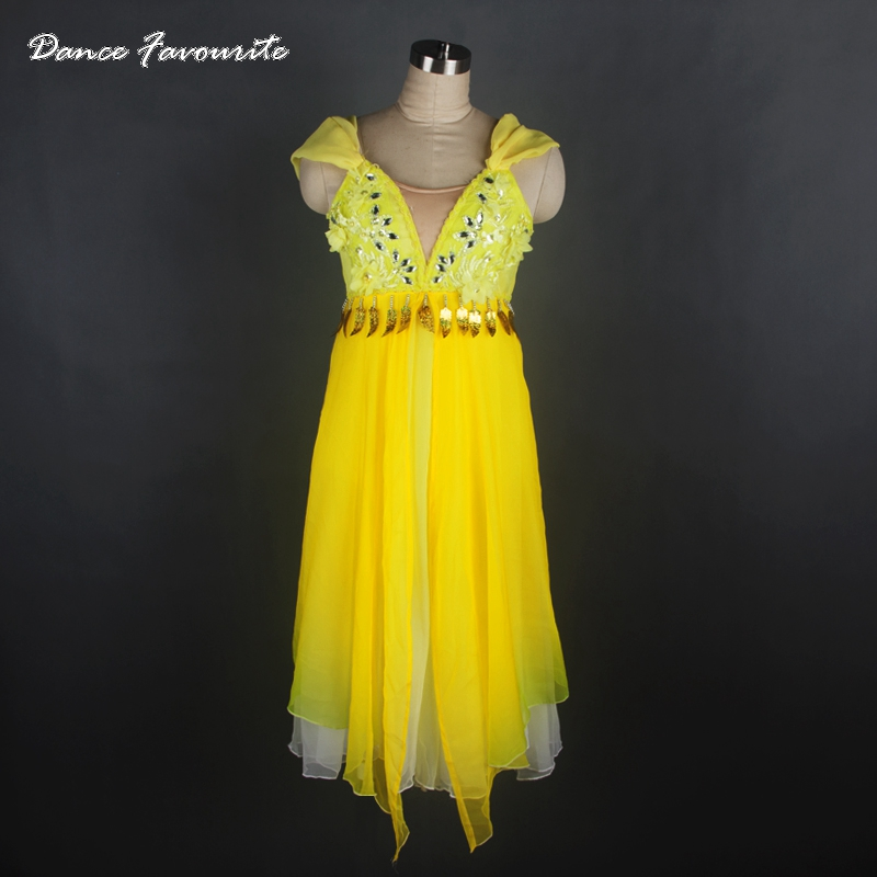 Adult Professional Ballet Long Tutu Dress yellow gold ,Chiffon Classical Ballet Stage Costume,Ballet Performance Tulle Dress