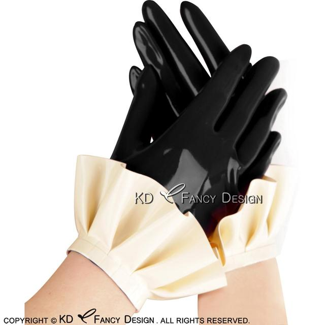 Black With White Sexy Short Latex Gloves With Ruffles Rubber Mittens ST-0034