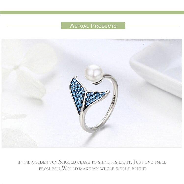 HTB1q1v5db1YBuNjSszeq6yblFXa7 BISAER 100% 925 Sterling Silver Female Mermaid Tail Adjustable Finger Rings for Women Wedding Engagement Jewelry S925 GXR286