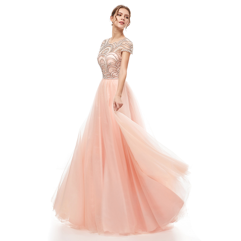 Image 3 - New Formal Wear 3 Layers Evening Long Dresses Elegant Women Tulle Cap Sleeve Beading Prom Party Gowns Special Occasion L5222Evening Dresses   -