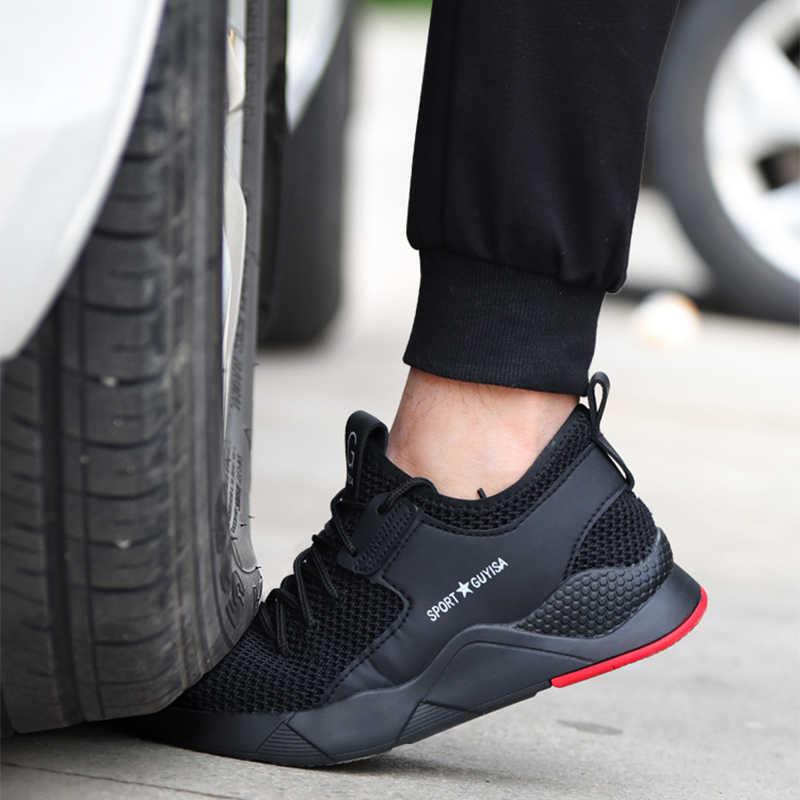 Erkek Çelik Burunlu iş ayakkabısı Moda Rahat Nefes Açık Ayakkabı Delinme Geçirmez Botlar Rahat Endüstriyel Güvenlik Ayakkabı Erkekler