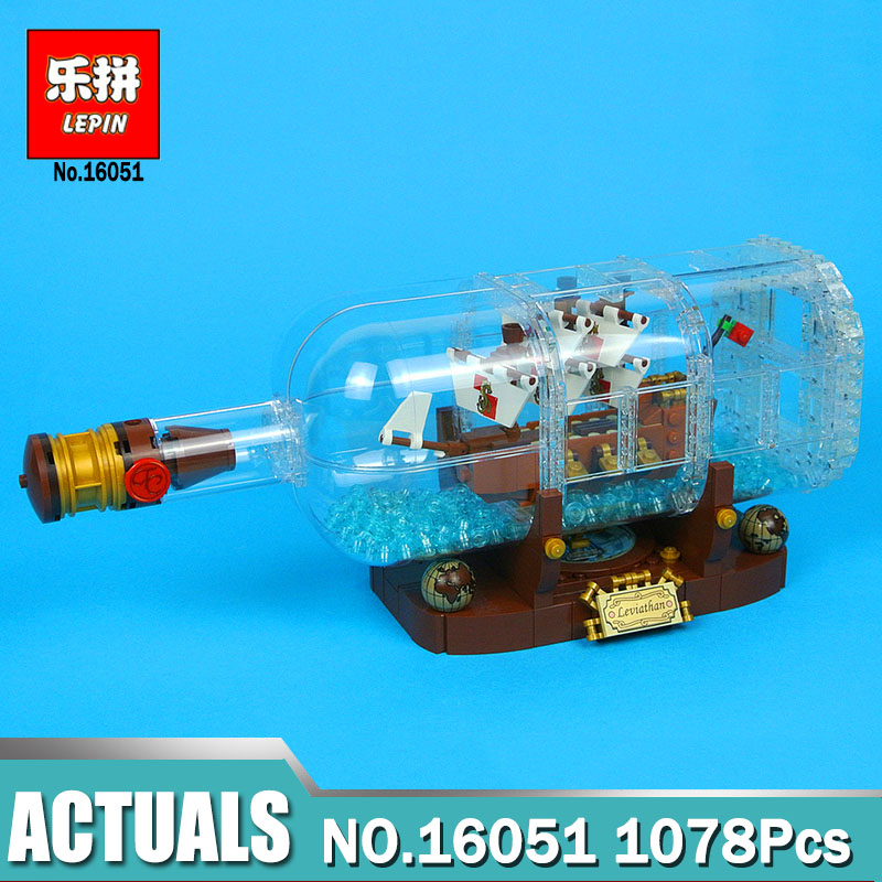 Lepin 16051 Ideas Ship in a Bottle Creative Pirates of the Caribbean Pirates Legoinglys 21313 Building Blocks Bricks Funny Toy in stock 16051 1078pcs creative series the ship in the bottle lepin building blocks brick toy compatible with lego 21313 model
