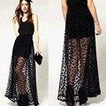 Sexy Women Vintage Gauze Skirt Elastic Waist Pleated Polka Dot Long Maxi Skirt