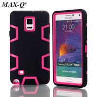 MAX-Q Shockproof Hybrid Armor Rubber Heavy Duty Silicon + PC Case Cover For Samsung Galaxy Note 4 N9100 Phone Cases