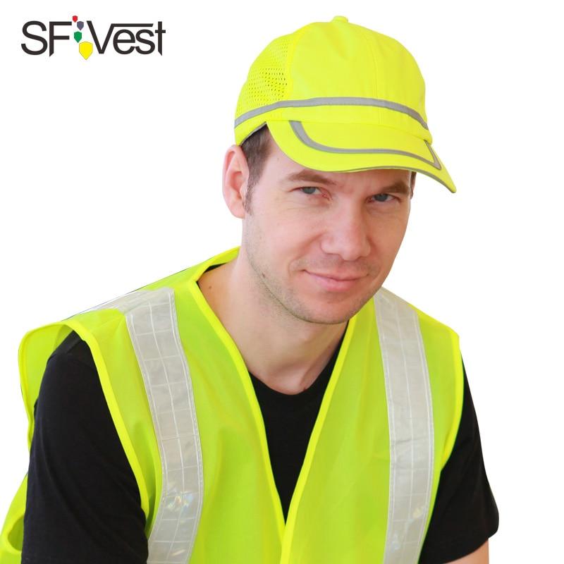 Alta Visibilidade colete Refletivo de segurança chapéu boné De Beisebol amarelo capacete de segurança do trabalho