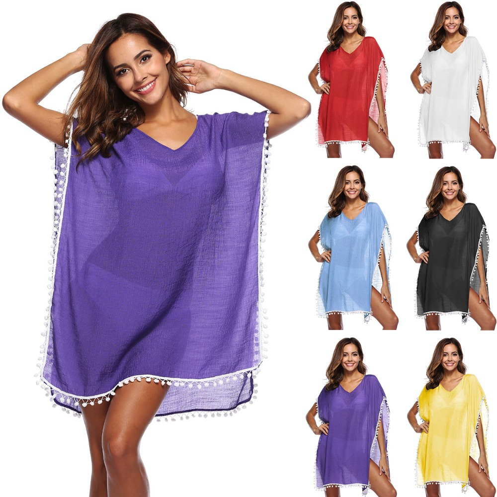 Linen Tassels Beach Wear Women Swimsuit Cover Up Swimwear Bathing Suits Summer Dress loose Solid Pareo Cover Ups Open Armpits