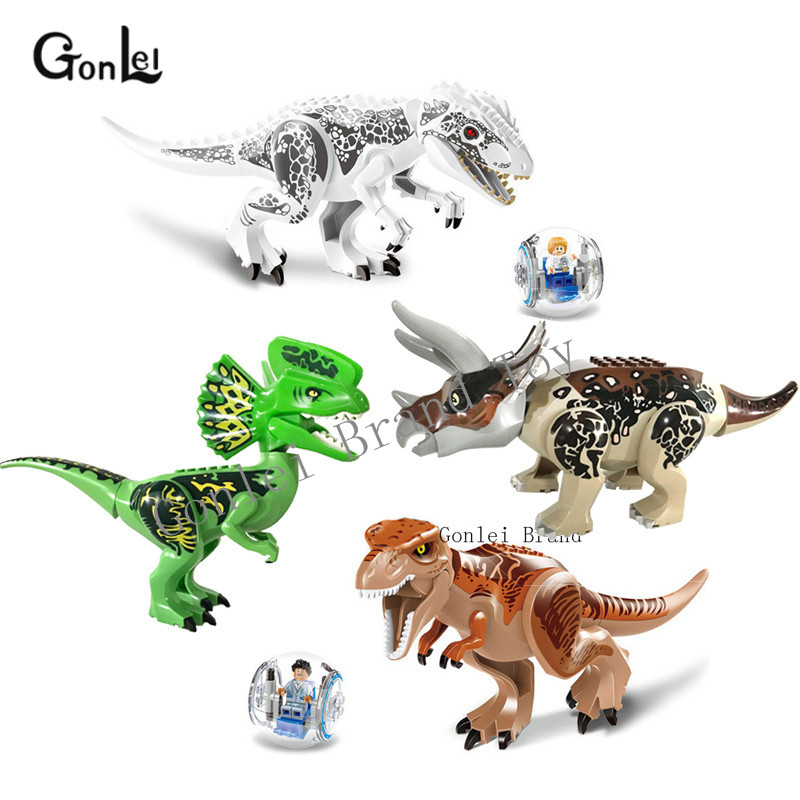 Jurassic Dinosaur World Figures Tyrannosaurs Rex & Dilophosaurus &triceratops Building Blocks Compatible leGoINgly Dinosaur Toys building blocks 82028 jurassic world indominus rex tyrannosaurs t rex building blocks toys dinosaur bricks children gift toys