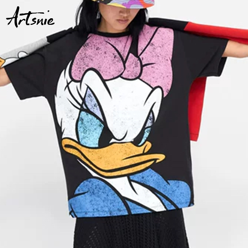 Artsnie summer 2019 loose cartoon women   t     shirt   o neck short sleeve knitted tee tops streetwear casual camiseta mujer   t  -  shirt