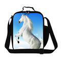 Dispalang white horse print thermal lunch cooler bags for girls fashion children school lunch box kids insulated picnic food bag