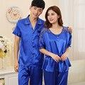 Nuevo Pijamas de Satén de Seda De Las Mujeres Amor Pareja de Dormir Pijamas Para Hombre Verano Pijama